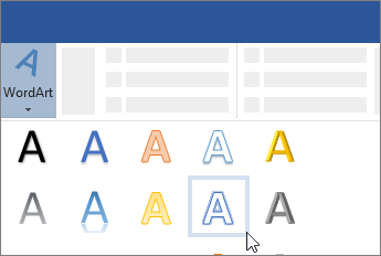 Vstavljanje WordArta s traka