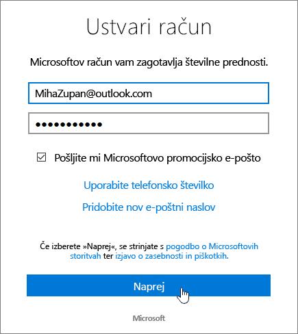 Posnetek zaslona, na katerem je prikazano pogovorno okno »Ustvarite Microsoftov račun«
