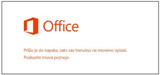 Težave pri vpisu v Microsoftov račun