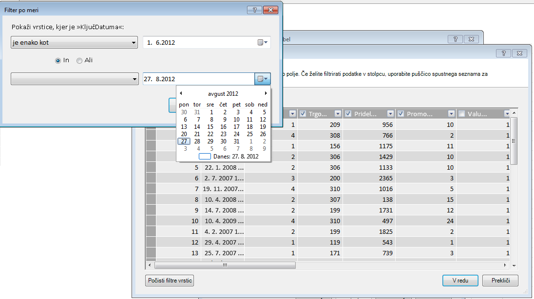 Podokno filtriranja v čarovniku za uvoz tabel