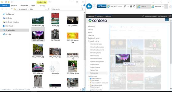 Posnetek zaslona SharePointa in Raziskovalca, ki sta prikazana drug ob drugem, s tipko Windows in puščičnimi tipkami.