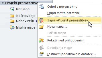 Ukaz »Zapri Outlookovo podatkovno datoteko (.pst)«