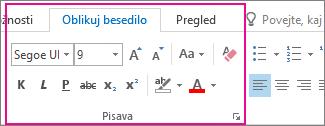 Oblikovanje besedila traku