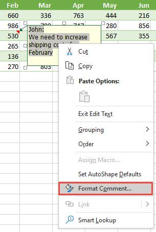 Oblikujte pripombo tako, da izberete besedilo, ki ga želite oblikovati, nato pa kliknite z desno tipko miške in izberite Oblikuj pripombo.