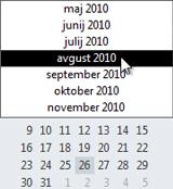 Datumski krmar z izbirnikom mesec