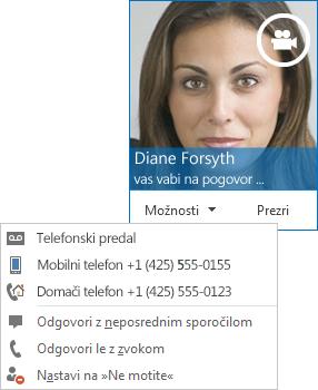 Posnetek zaslona opozorila videoklica s sliko stika v zgornjem kotu