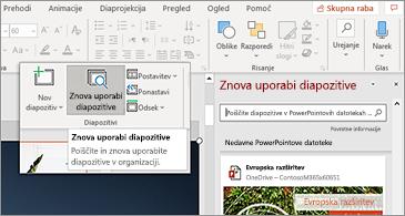 Gumb za vnovično uporabo diapozitivov in odpiranje podokna v PowerPointu