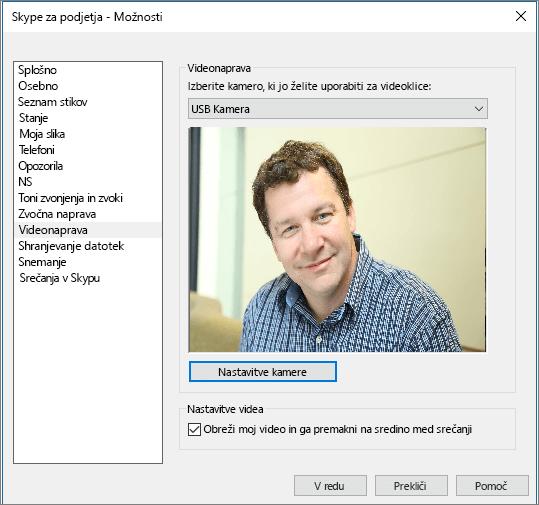 Posnetek zaslona strani »Videonaprave« v pogovornem oknu »Možnosti« v Skypu za podjetja.