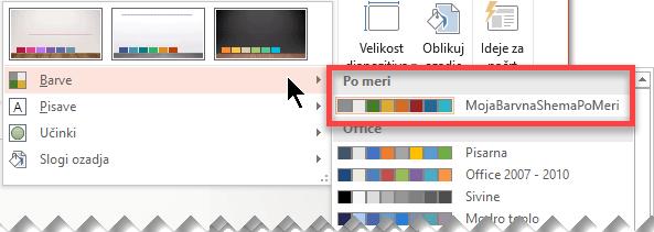 Ko določite barvno shemo po meri, se prikaže v spustnem meniju Barve