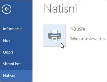 Slika gumba »Natisni« v programu Word Online