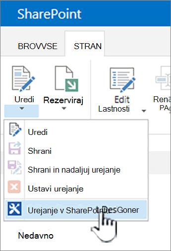 Urejanje meniju izberite SharePoint Designer