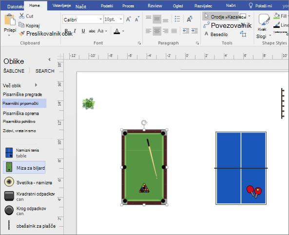 Povlecite obliko zaloge tabele na stran