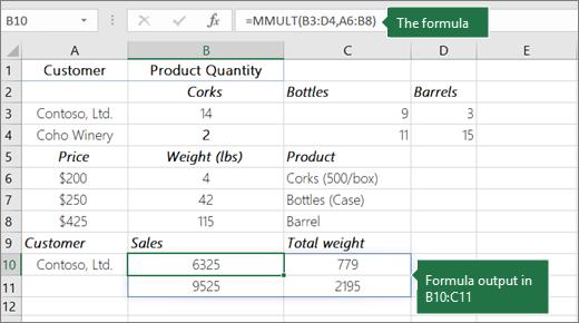 Funkcija MMULT – 2. primer