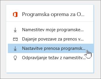 Nastavitve prenosa programske opreme za Office software
