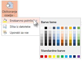 Izbiranje barve ozadja