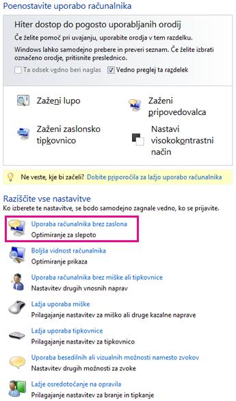 Središče za dostopnost v sistemu Windows