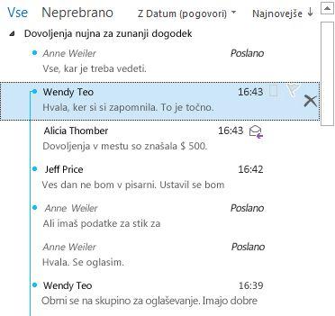 Primer pogovora s popolnoma razširjenimi razdelki na seznamu sporočil