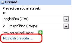 Možnosti prevoda