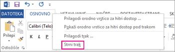 Ukaz »Strni trak«, ki ga prikažete tako, da z desno tipko miške kliknete zavihek na traku programa Word 2013
