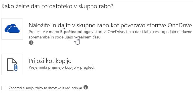 Posnetek pogovornega okna »Priloga« s prikazom možnosti »Prenesi« in »Priloži« za datoteko v storitvi OneDrive.