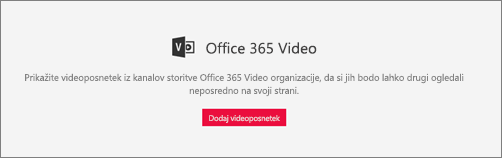 Spletni gradnik storitve Office 365 Video