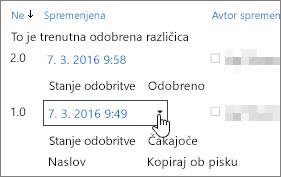 Gumb spustnega seznama različice v pogovornem oknu
