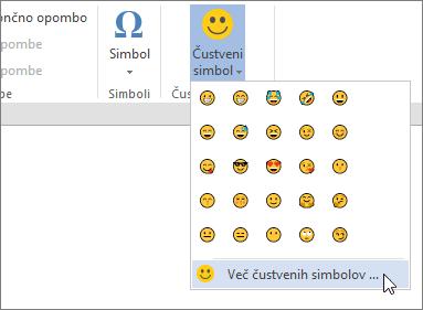 Kliknite več Emojis Emojis gumb na zavihku »Vstavljanje« lahko izbirate med vse emojis na voljo.
