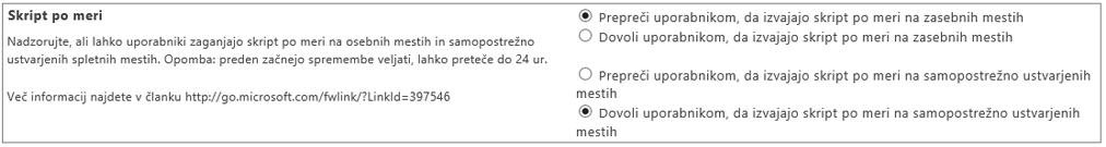Posnetek zaslona nastavitve skripta po meri v skrbniškem središču za SharePoint Online
