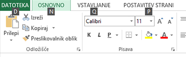 Namigi za tipke na traku v Excel 2013
