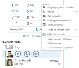 Posnetek zaslona preverjanja glasovne pošte v Lyncu
