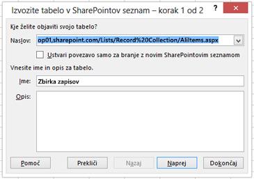 Prva stran pogovornega okna »Izvozi v SharePointov seznam«