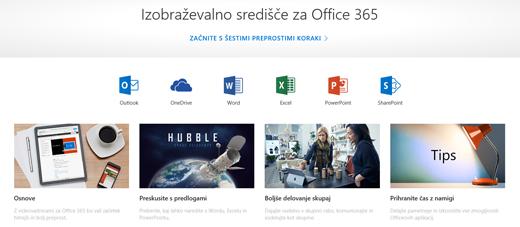 Domača stran Izobraževalnega središča za Office z ikonami za različne Officeove aplikacije in ploščice za razpoložljive vrste vsebine.