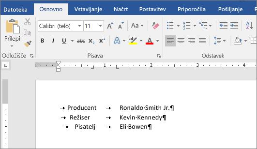 Primer prikazuje besedilo, poravnano s tabulatorskimi mesti na ravnilu.