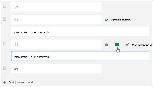 Vprašanje kviza, prikazano z besedilom pravilnega odgovora ob dveh pravilnih odgovorih