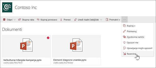 Izberite datoteko, kliknite tri pike v zgornji vrstici in izberite Rezerviraj.