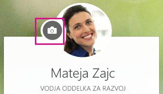 Kliknite ikono kamere, da spremenite svojo fotografijo
