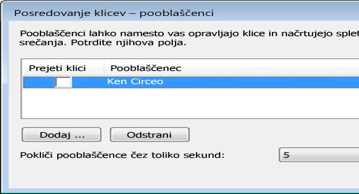 Posnetek zaslona dodajanja pooblaščenca v Lync