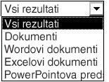 Možnosti rezultatov, med njimi »Vsi rezultati«, »Dokumenti«, »Wordovi dokumenti«, »Excelovi dokumenti« in »PowerPointove predstavitve«