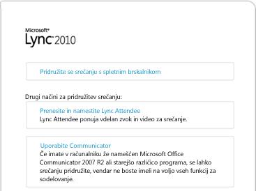 Slika okna brskalnika programa Lync