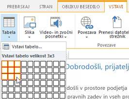 Vstavljanje tabele na javnem spletnem mestu SharePoint Online