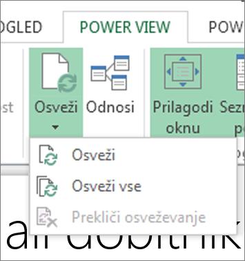 Gumb za osveževanje funkcije Power View