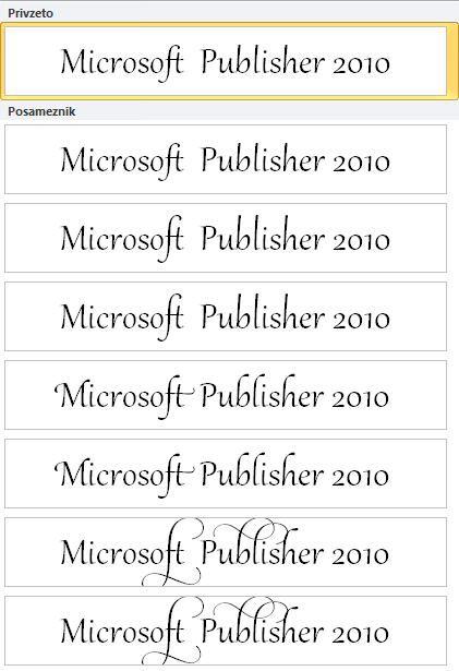 Nabor slogov v Publisherju 2010 za napredno tipografijo v pisavah OpenType