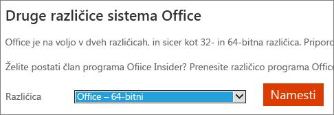 Posnetek zaslona spustnega seznama izberite možnost za namestitev Officea - 64-bitna različica