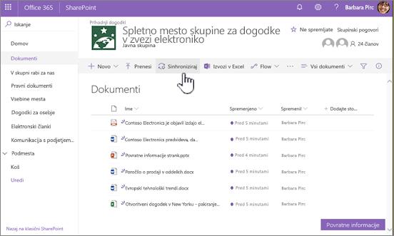 Knjižnica dokumentov z izbranim gumbom za sinhronizacijo