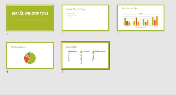 Pokaže pogled »Razvrstilnik diapozitivov« v PowerPointu
