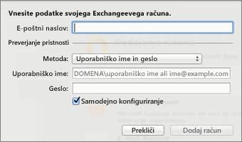 Vnesite podatke o Exchangeevem računu