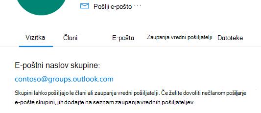 Dodajte zaupanja vredne pošiljatelje v skupino Outlook.com.