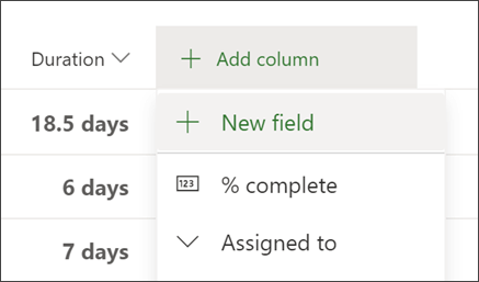 Screen shot of Project showing Add column header and New field option