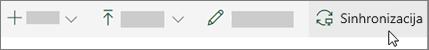 Orodna vrstica za SharePoint online z izbrano možnostjo sinhronizacije