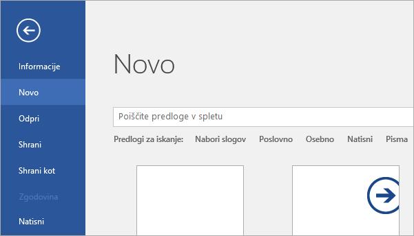 Prikaže stran »Datoteka« > »Novo« v programu Word 2016